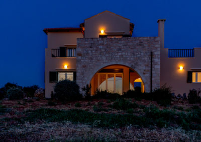 Patricks Villa Photographs- Front of House at Sunset